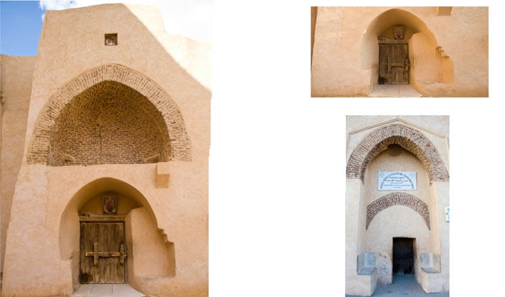 Left and Upper Right: north door in north wall from the monastery interior. Lower Right: exterior of north door in north wall.