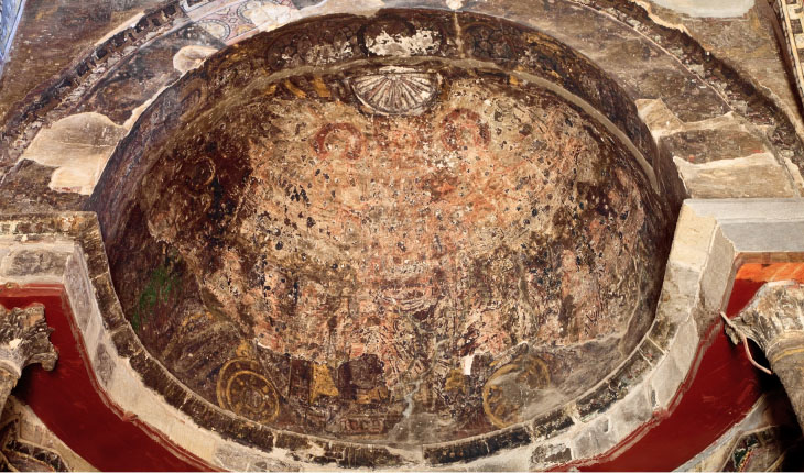 Semi-dome, east wall. Following Page: View of the south wall of the trefoil sanctuary